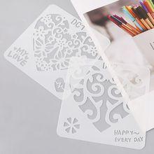12Pcs 12Pcs Flower Heart Drawing Molds Plastic Children Painting Stencils DIY Paper Art Craft Card Label Scrapbook Bookmark Toy