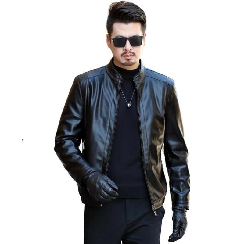 2020 メンズレザージャケット若者のカジュアルな高品質古典的なオートバイバイクジャケット男性プラスベルベット厚いコート冬ラペル