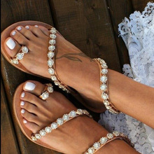 Women Shoes Sandals Flat Sandal Summer Shoes Handmade Rhinestone Beach Sandals Bridal Shoes Fashion Casual Sandals Flip Flop jianbudan sandals for women s flat flip flops comfortable beach shoes fashion rhinestone crystal sandals summer flat women shoes