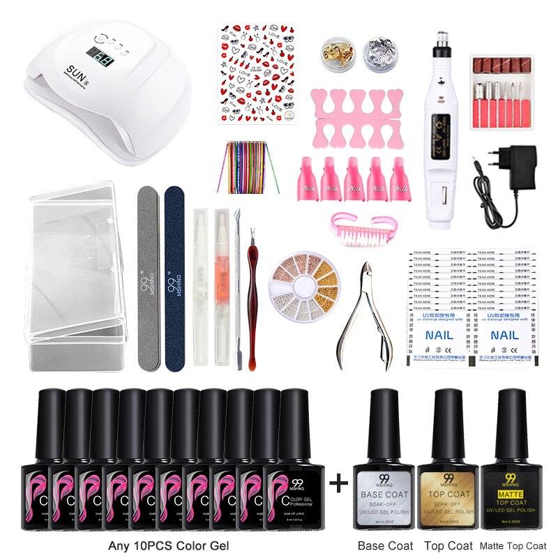 Mshing 99  Nail Set Lamp Dryer With 13pcs Nail Gel Polish Kit Soak Off Manicure Tools Set Electric Nail Drill For Nail Art Tools