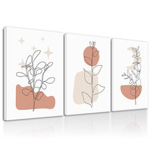 Абстрактная растительная линия Рисование Искусство в рамке украшение