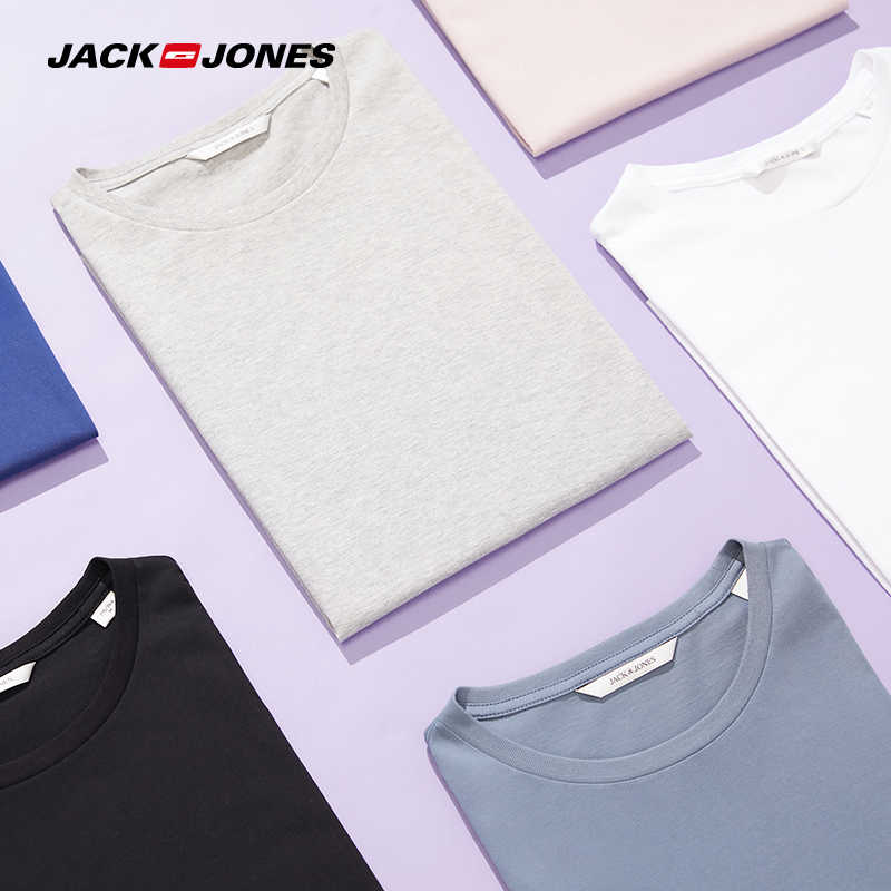 JackJones Men's Cotton T-shirt Solid Color Men's Top Fashion t shirt 2019 Brand New Menswear 2181T4517