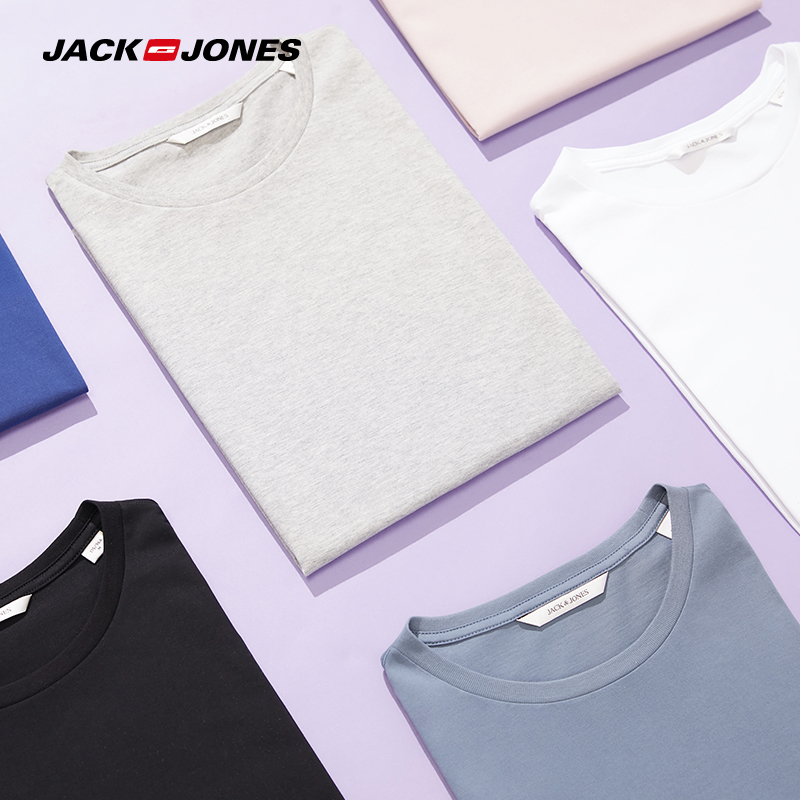 JackJones Men's Cotton T-shirt Solid Color Men's Top Fashion T Shirt 2019 Brand New Menswear 219301502