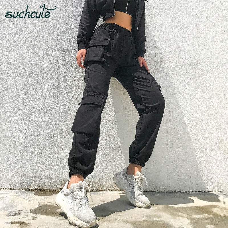 SUCHCUTE Women Pants In A Cage With Pockage Sweatpants Punk Korean Style Trousers Female Joggers Korean Style Breeches Harajuku