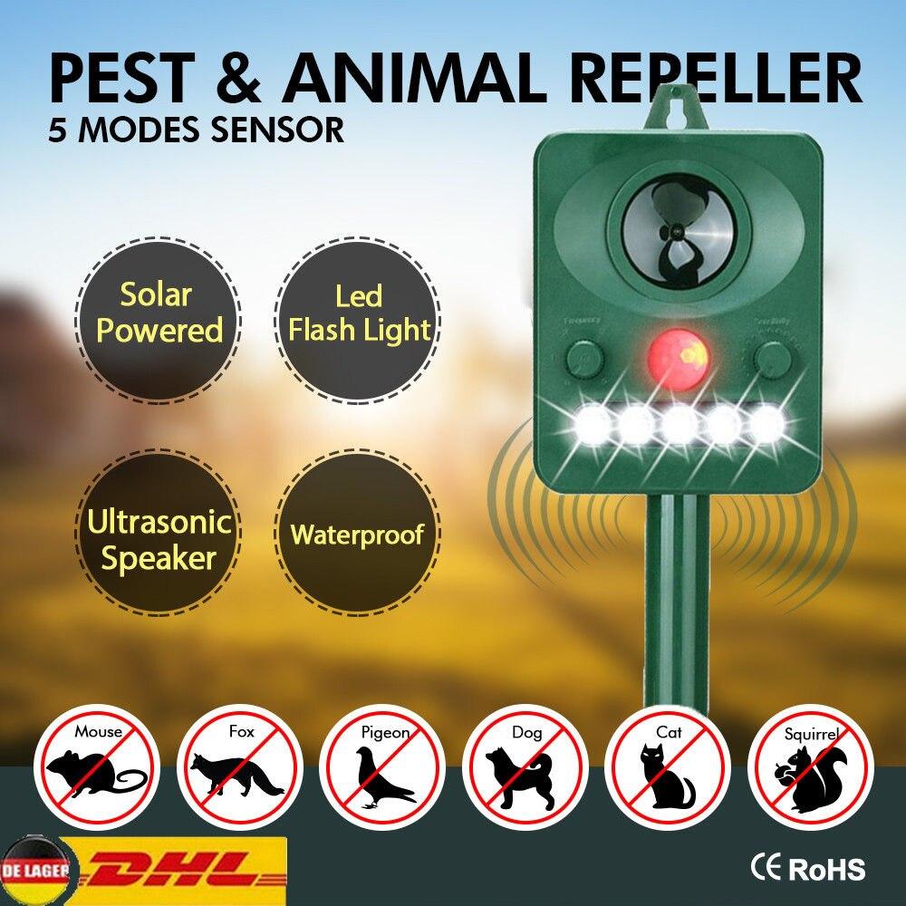 Ultrasonic Repeller Solar Powered Animal Repeller Outdoor Garden Dog Bird Cat Raccoon Repeller Motion Sensor Flash Light