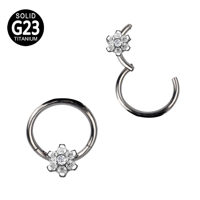 G23 Titanium Segment Hinged Rings Flower CZ Nose Lip Labret Ear Tragus Cartilage Daith Helix Earring Hoop Piercings Body Jewelry