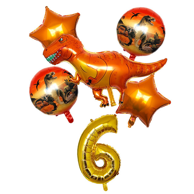 6 Pz/set Numero Aerostati della Stagnola Verde Rosso Grande Dinosauro Festa di Compleanno Palloncino Decorazione In Piedi Animale Aria Globos Ragazzo Giocattolo Per Bambini