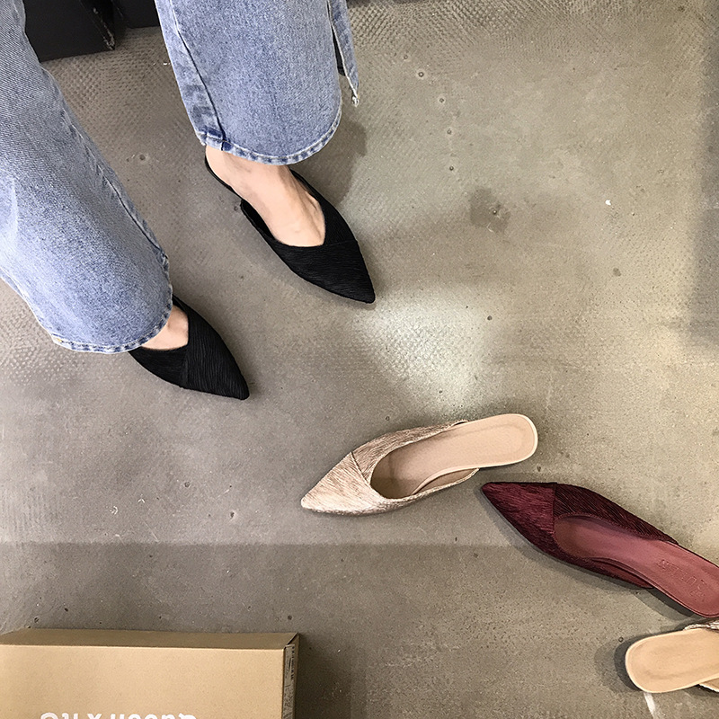 2019 Style américain chaussures pour femmes pantoufles femmes chaton talons chaussures filles chaussures sans lacet femmes tissu solide Mules chaussures femmes