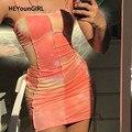 HEYounGIRL Tie Dye Gedruckt Sexy Spaghetti Strap Kleid Sommer Ärmel Bodycon Mini Kleider Damen Geraffte Mode Streetwear