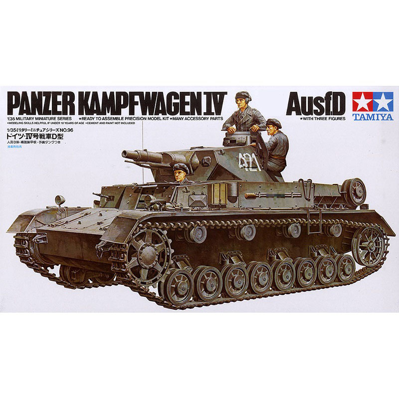 Tamiya 35096 1/35 Scale WWII German Panzer IV Ausf D Tank Display Collectible Toy Plastic Assembly Building Model Kit