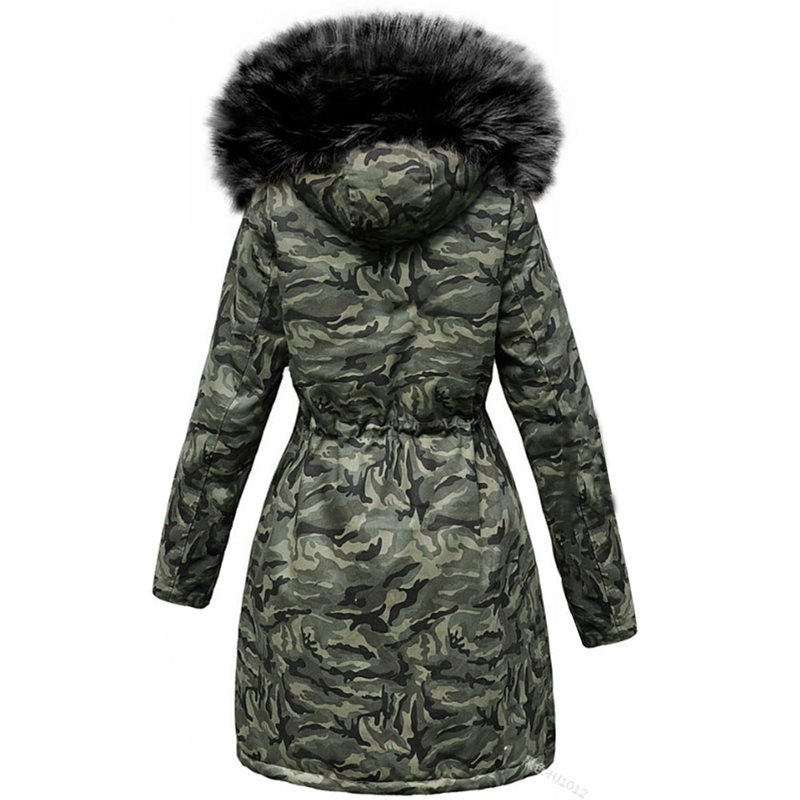 Warm Cotton Padded Jacket Camouflage Parka Women Long Overcoats Winter Warm Thick Female Casual Military Fur Tops Jackets Coats