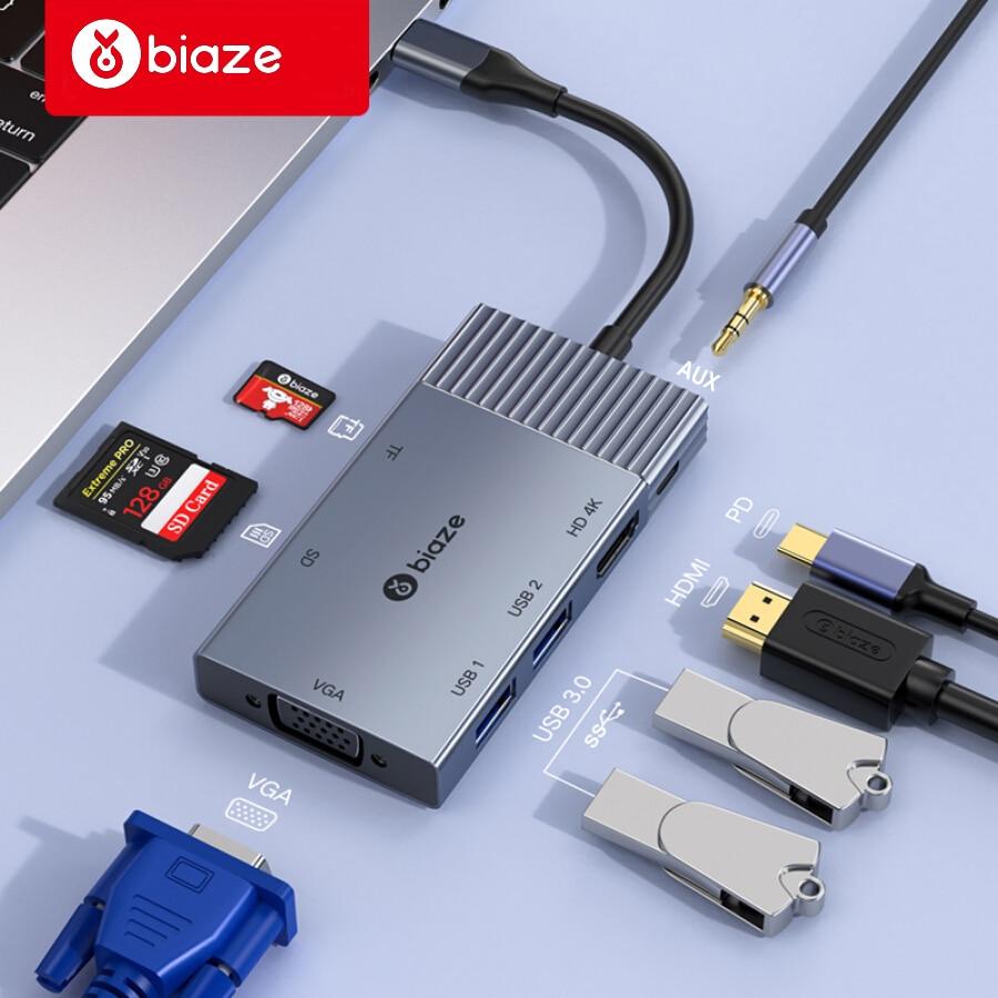 Biaze USB HUB To USB C HUB 4K HDMI VGA USB 3.0 AUX Adapter Dock For MacBook Pro/Air Huawei Xiaomi Samsung S9 S8 Type-C HUB
