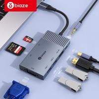 Biaze USB HUB to USB C HUB 4K HDMI VGA USB 3.0 AUX Adapter Dock For MacBook Pro/Air Huawei Xiaomi Samsung S9 S8 Type C HUB