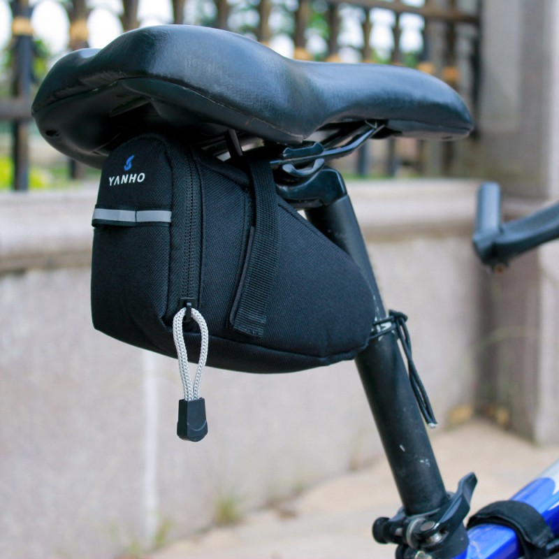 Waterproof Bicycle Saddle <font><b>Bags</b></font> 15cm*10cm*8cm Black Reflective Cycling Seat Tail <font><b>Bag</b></font>,Seatpost Pouch for <font><b>Bike</b></font> Outdoor Accessories image