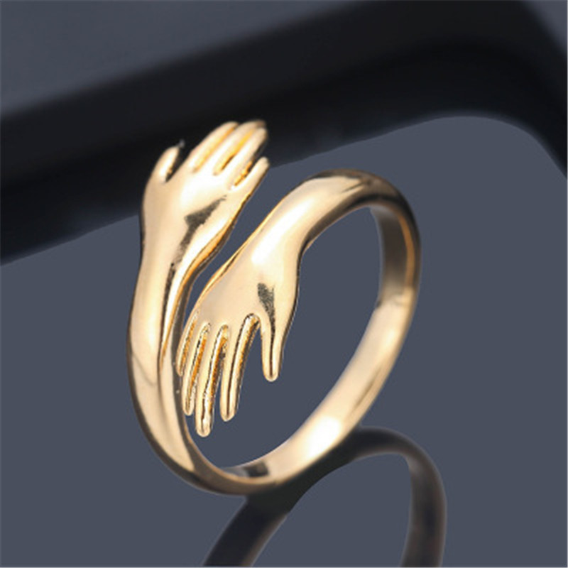Romantic Gold Sliver Color Hand with Love Hug Rings Creative Adjustable Open Finger Rings for Women Men Couple Jewelry Gift 7