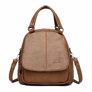 Image 1 - Women Leather Backpacks High Quality Mochila Feminina  Multifunction Backpack For Girls Solid Vintage Bagpack Ladies Back Pack