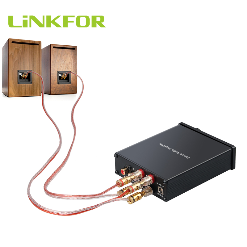 LiNKFOR Audio Amplifier Mini Hi-Fi Class D Integrated Amp Digital 2 Channel Stereo Power Amplifier Treble Control 50W