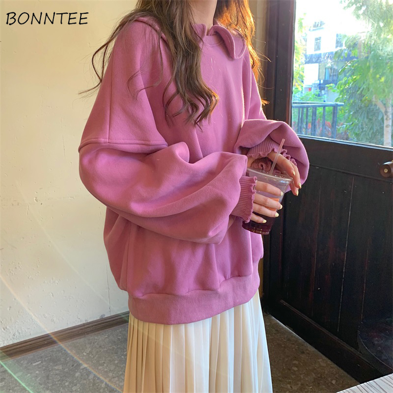 Hoodies Women Solid Peter Pan Collar Sweet Pink Loose 2XL All-match Chic Harajuku Korean Style Soft Girls Puff Sleeve Fashion