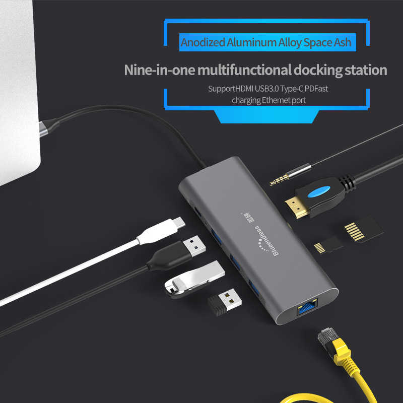 -Tipo C Laptop Docking Station USB Tipo-C Hub USB 3.0 Hub USB HDMI TF LAN PD para DELL Superfície Macbook para Huawei XiaoMi Lenovo
