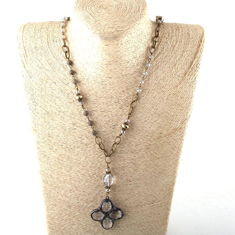 Модные богемные ювелирные изделия Античный камень цепочка со стразами кристалл кулон ожерелье s для женщин национальное ожерелье - Окраска металла: 1