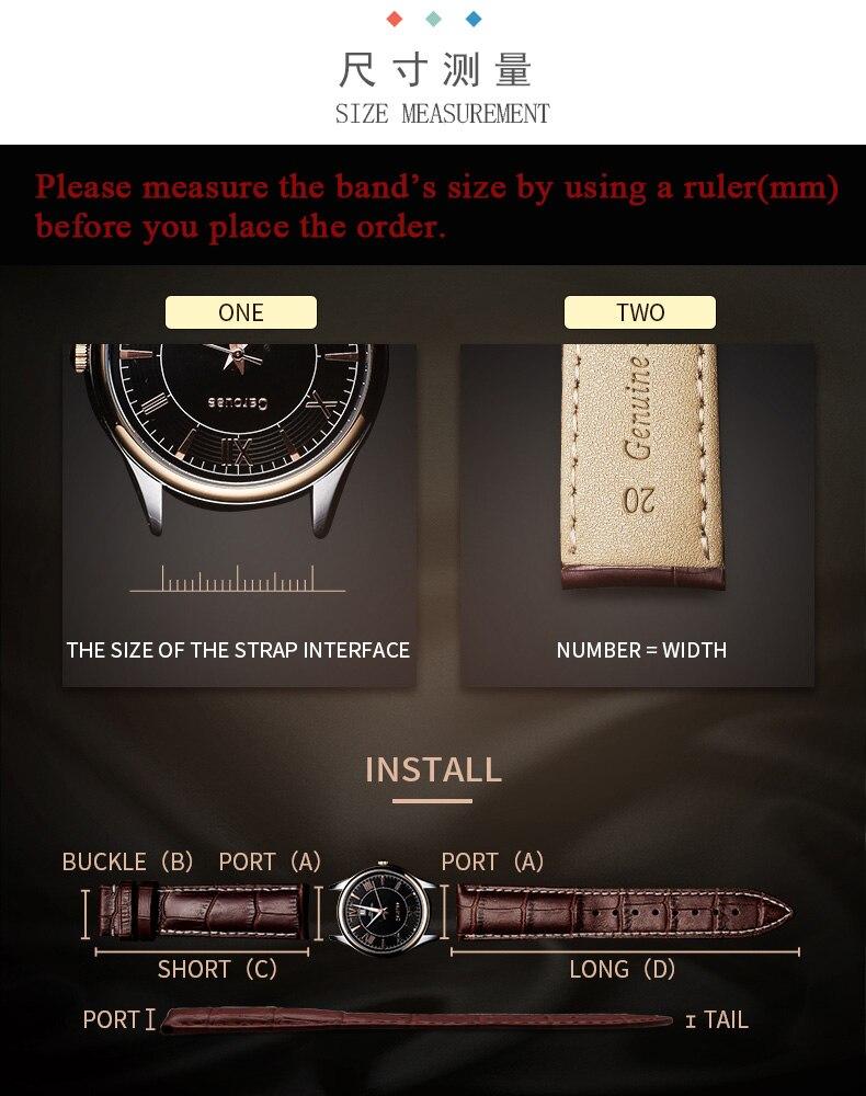 série omg relógio masculino cinto 19 20 21 22mm