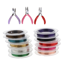 1 Set 10 Rolls Mixed Color Beading String and 3 Mini Pliers Jewelry Making Tools DIY Crafts
