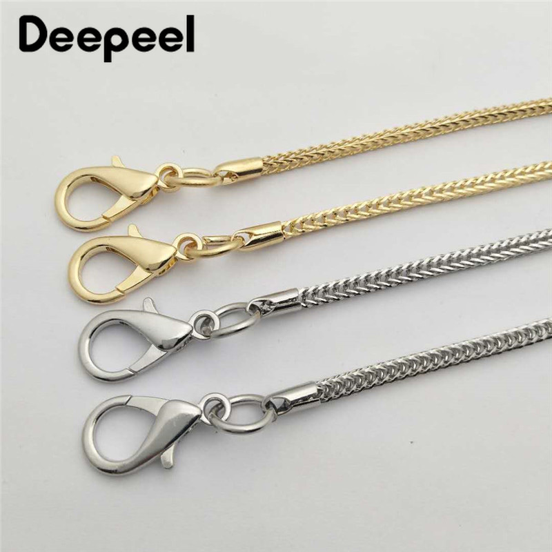 Deepeel 1pc/5pcs 4mm*113cm Bag Metal Chain Strap Replacement Shoulder Strap Metal Hook Buckle Chain DIY Hardware Accessory BF409