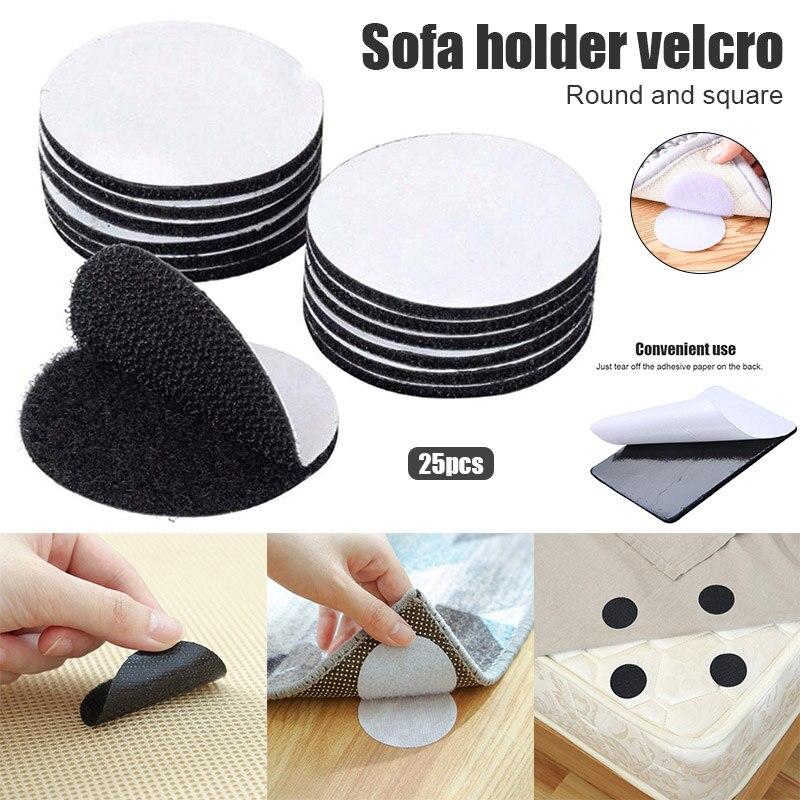 25pcs Antiskid Pad For Sofa Cushions Furniture Adhesive Hook And Loop Fastener DC156