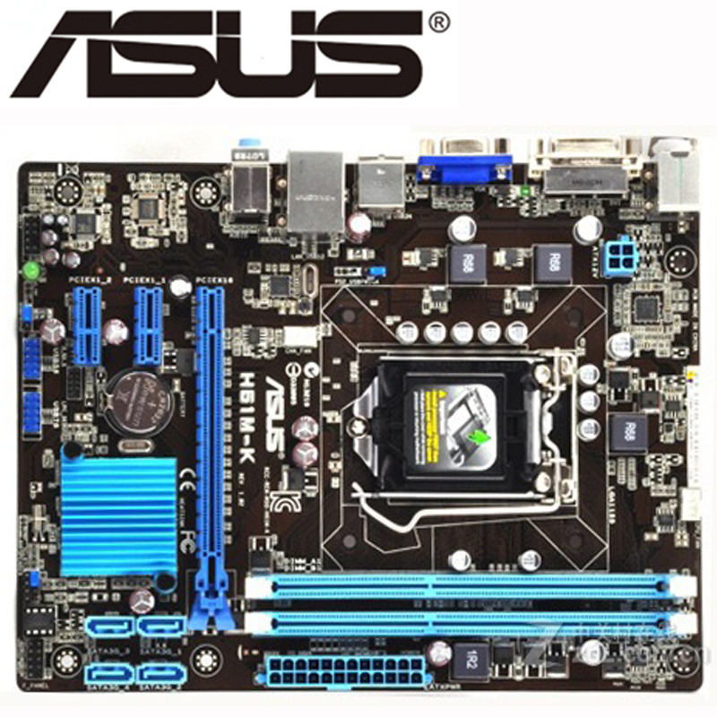 Оригинальная настольная материнская плата для ASUS H61M-K материнская плата для intel LGA 1155 DDR3 USB2.0 16 Гб DVI VGA H61 б/у платы
