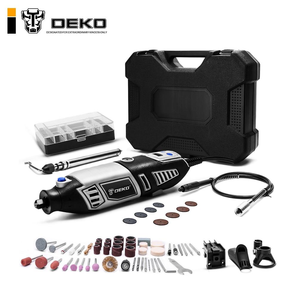 DEKO GJ201 LCD Variable Speed Rotary Tool Dremel Style Engraver Electric Mini Drill Grinder W/ Flexible Shaft Set4