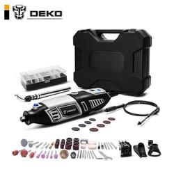 DEKO GJ201 LCD Variable Speed Dreh Werkzeug Dremel Stil Stecher Elektrische Mini Drill Grinder w/Flexible Welle Set4