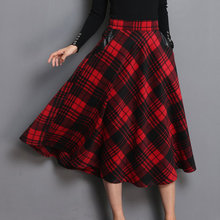 High Waist A Line Women Long Skirt Plus Size 4XL England Plaid Woolen Ladies Skirts Woolen Pleated 2019 Tartan Female Bottom(China)