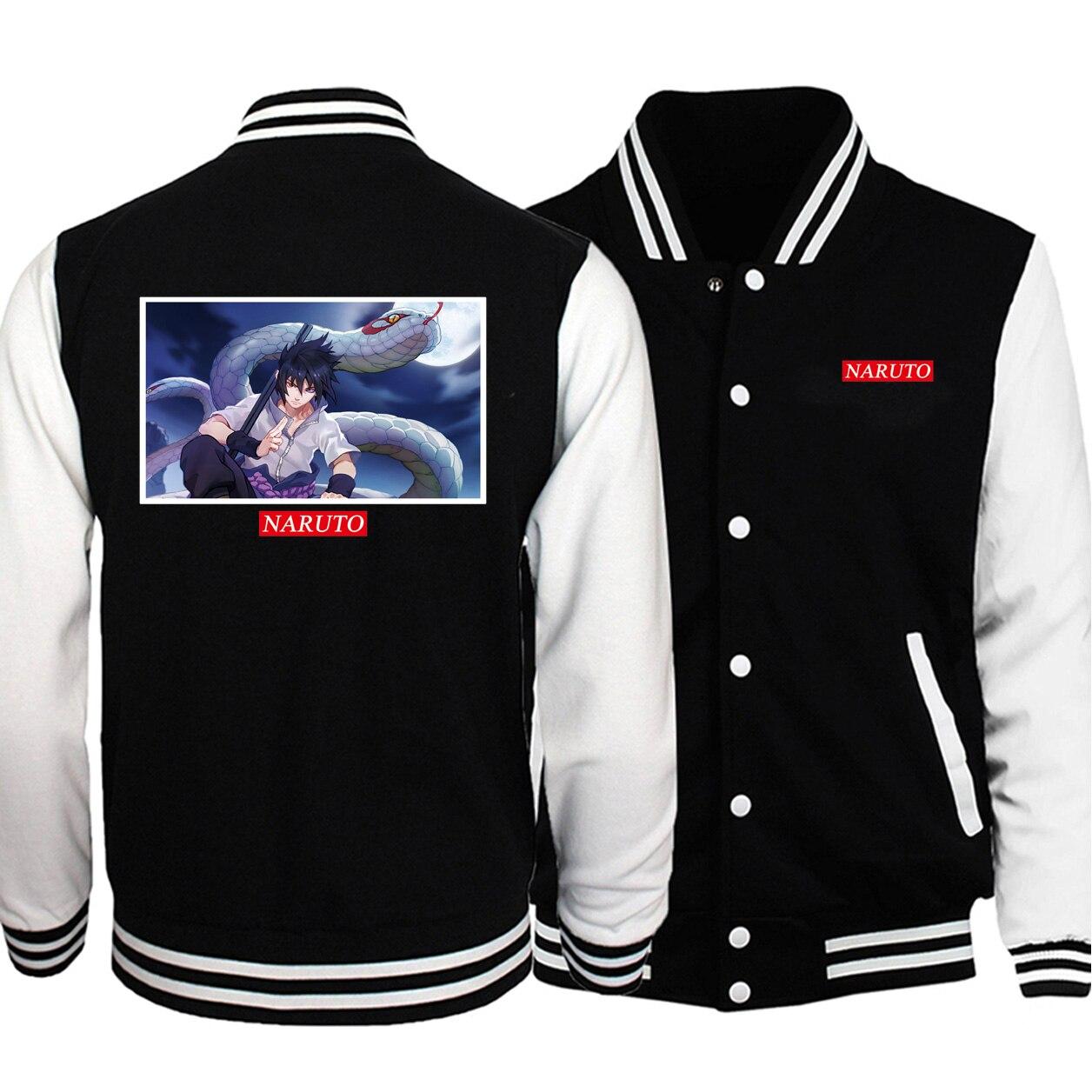 2020 Youthful Naruto Print Men Baseball Jackets Casual Coats Black Plus Velvet Sweatshirt Autumn Winter  Button Man Jackets