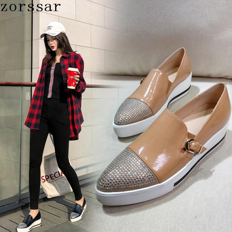 2019 Spring Women Flat Platform Shoes Genuine Leather Pointed Toe Womens Flats Shoes Soft Shallow Casual Fashion Women Loafers