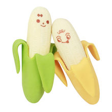 2PCS New Creative Lovely Cartoon Expression Banana Fruit Style Rubber Pencil Eraser Students Stationery Gift School Supplies(China)