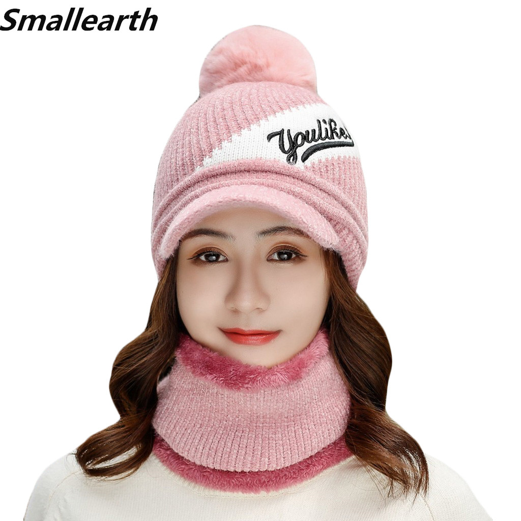 2019 Winter Women Hats Scarf Set Fashion Brand Hat Scarf 2pcs Set Girl Warm Beanies Hat Ring Scarf Winter Plush Knitted Cap Sets