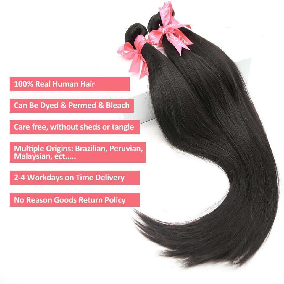 Brezilyalı saç örgü demetleri düz % 100% İnsan saç 3 4 demetleri Remy saç ekleme 28 30 34 36 40 inç demetleri doğal renk