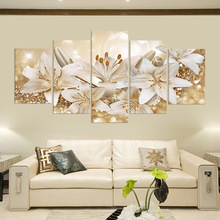 Canvas Prints Pictures Living Room Wall Art 5 Pieces Lilies Flowers Painting Home Decor Modular Beautiful Floral Poster No Frame canvas hd prints pictures wall art 5 pieces one piece monkey d luffy paintings anime poster living room decor modular framework