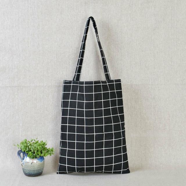 Fashion Reusable Shopping Canvas Tote Bag Women Cotton Linen Single Shoulder Bags Check Plaid Flax Grocery Bag
