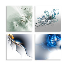 HD Prints Home Decor Painting 4 Pieces Abstract Art Simple Poster Wall Art Modern Canvas Modular Frame Pictures For Living Room(China)