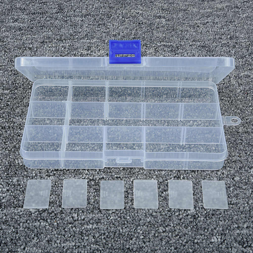 โปร่งใส10/15/24ตารางจัดเก็บกล่องกรณีCajas Organizadoraจัดเก็บพลาสติกกล่องเครื่องประดับลูกปัดPillสกรูOrganizador