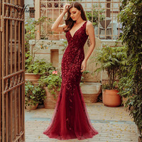 New Arrival Elegant Women Dresses V Neck Sparkle Mermaid Bodycon Maxi Summer Dresses For Party Vestidos De Fiesta De Noche 2019
