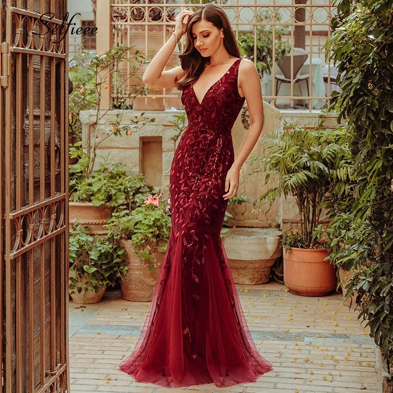 Nouveauté robes femmes élégantes col en v scintillant sirène moulante Maxi robes d'été pour les robes De fête De Fiesta De Noche 2019