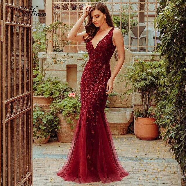 Nouveauté femmes élégantes robes col en v étincelle sirène moulante Maxi robes dété pour fête Vestidos De Fiesta De Noche 2020