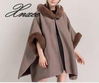 2019 new leather buckle hooded shawl cape coat
