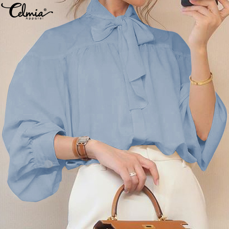 Stylish Top Celmia Women Bow Collar Long Lantern Sleeve Blouse 2019 Autumn Buttons Elegant Office Ladies Shirts Plus Size Blusas
