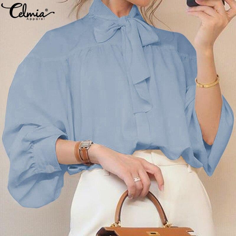 Stylish Top Celmia Women Bow Collar Long Lantern Sleeve Blouse 2020 Autumn Buttons Elegant Office Ladies Shirts Plus Size Blusas