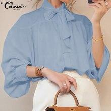 スタイリッシュなトップス5XL celmia女性ボウカラーランタンスリーブブラウス秋のボタンエレガントなオフィスの女性のシャツプラスサイズblusas