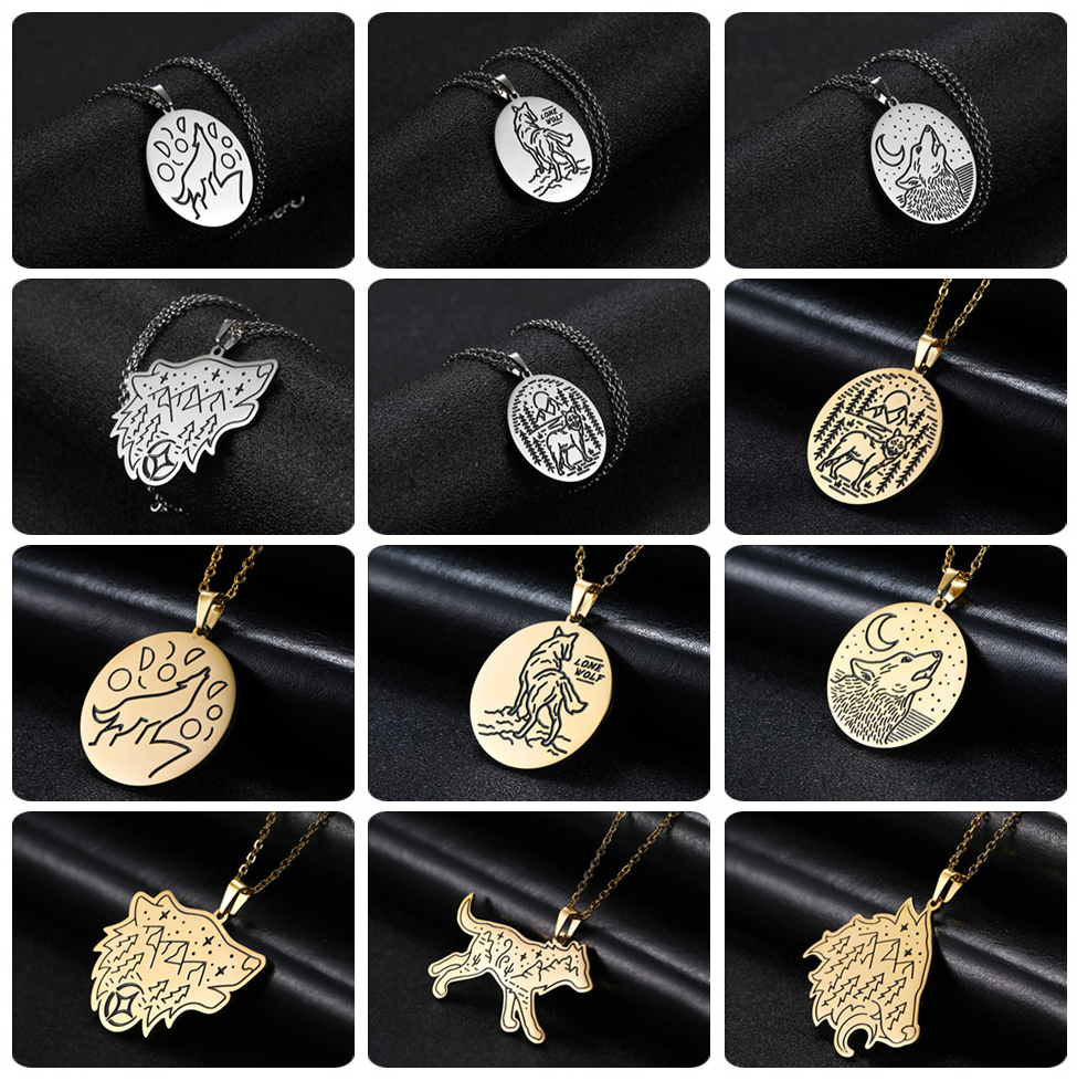 H9ec09e4f896345caa4617c4b7ba938d4w - My Shape Wolf Animal Necklace 316L Stainless Steel Forest Animals Men Necklace Hollow Cut Out Pendant Jewelry Gift For Women