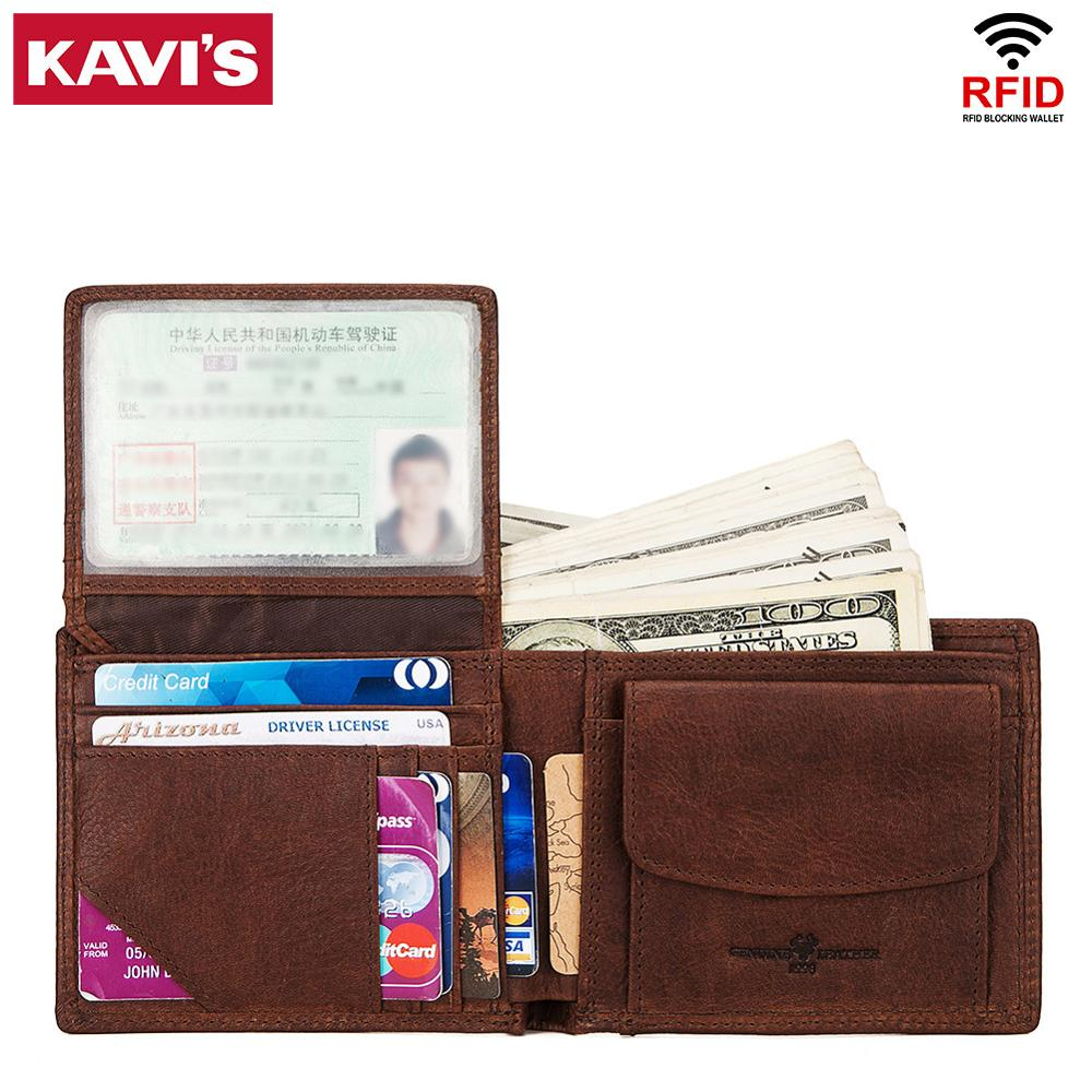 KAVIS 100% Genuine Cowhide Leather Men Wallet Male Cuzdan Walet Coin Purse Coin Pocket Men Purse  Small And Perse Mini Zipper